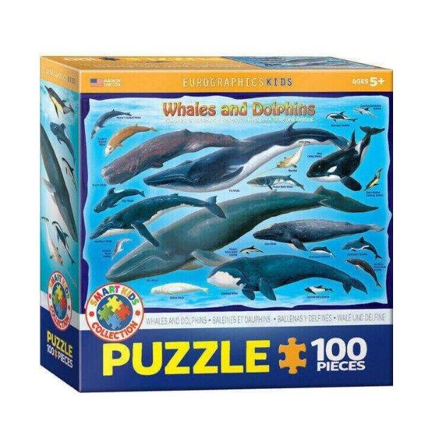 Hvaler og delfin puslespil - 100 brikker
